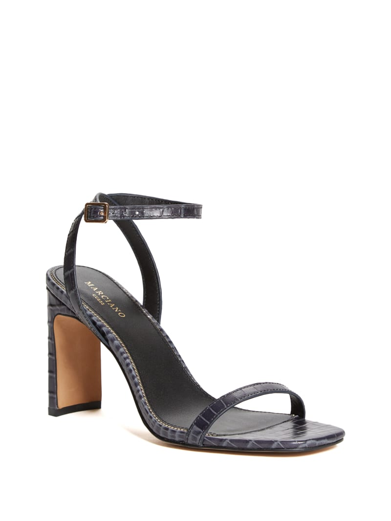 Crocodile Ankle Strap Heeled Sandal