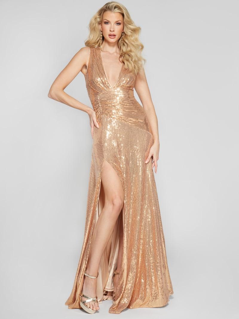 Golden Sequins Maxi Dress