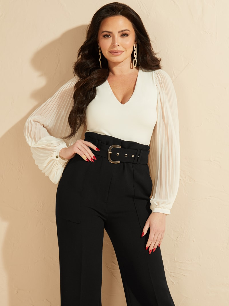 Ciera Pleated Sleeves Bodysuit