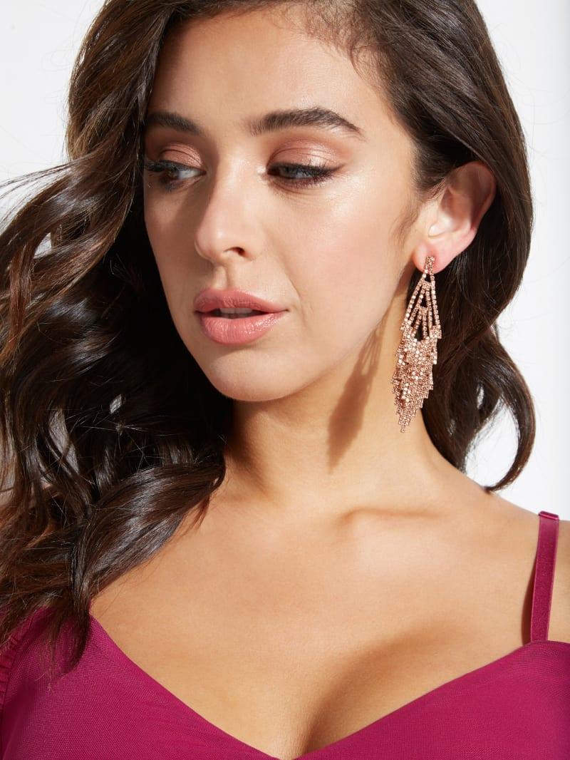Rose-Gold Tone Champagne Stone Chandelier Earrings