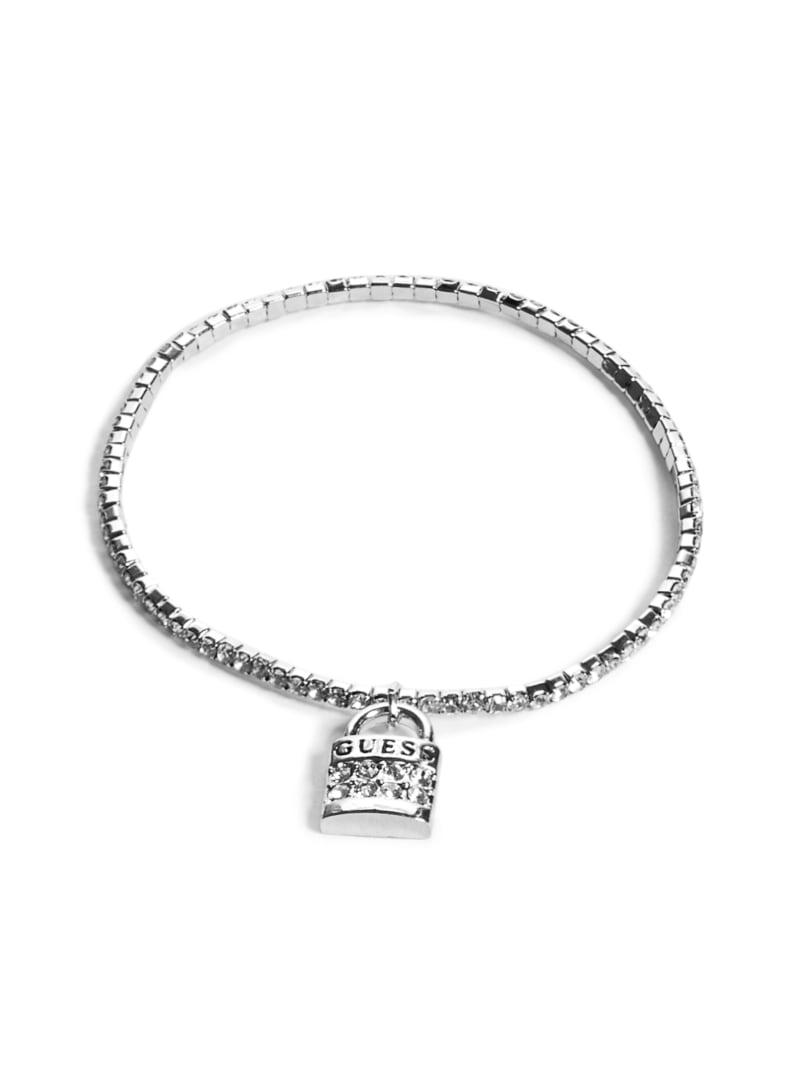 Silver-Tone Lock Charm Bracelet