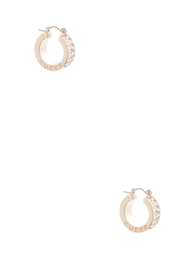 Rose Gold-Tone Rhinestone Hoop Earrings