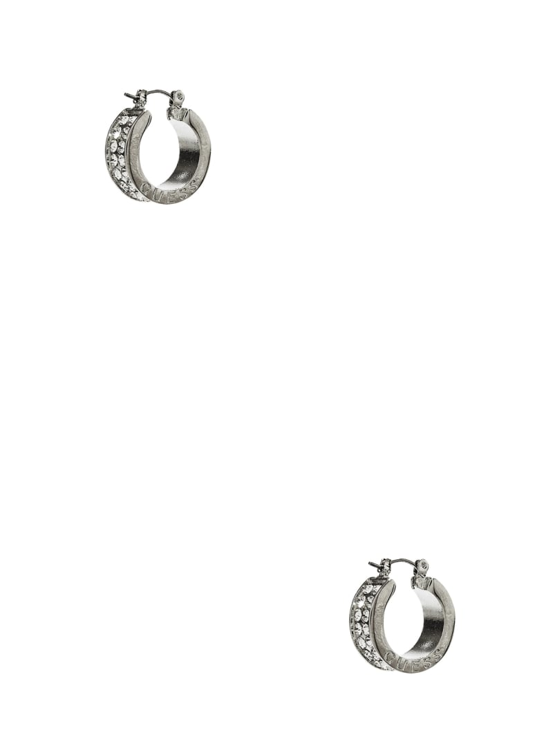 Silver-Tone Rhinestone Logo Hoop Earrings