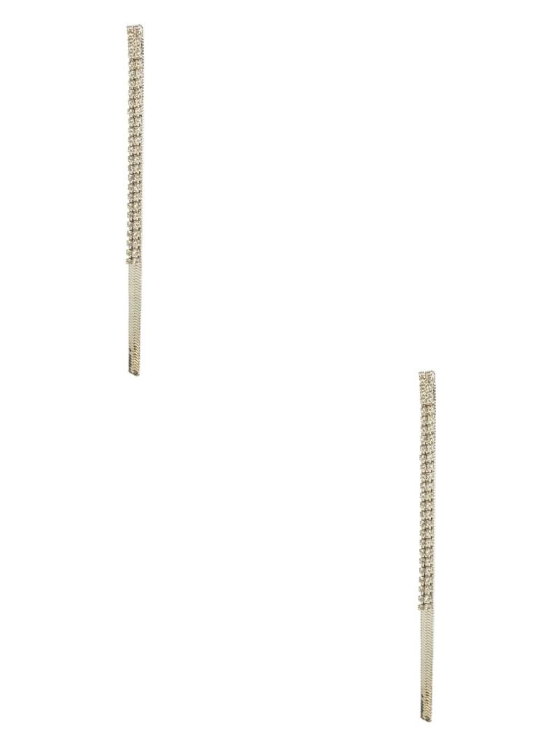 Silver-Tone Rhinestone Chain Linear Earrings