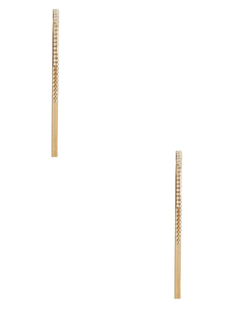 Gold-Tone Rhinestone Chain Linear Earrings