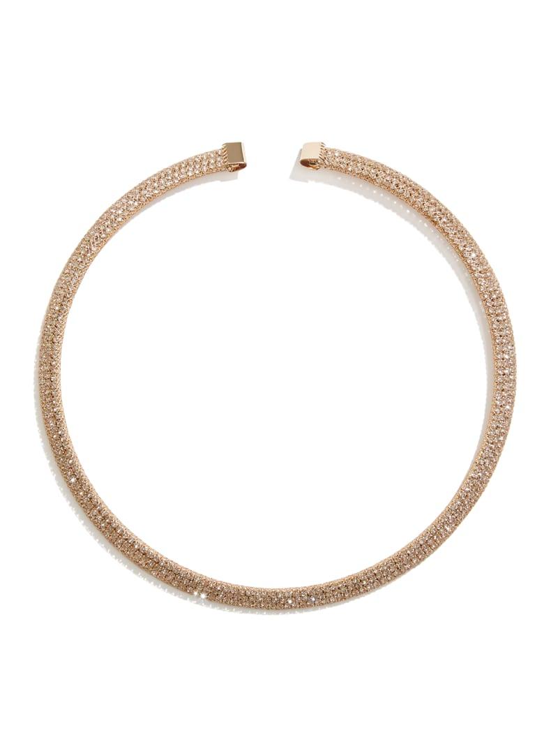 Rose Gold-Tone Rhinestone Mesh Collar Necklace
