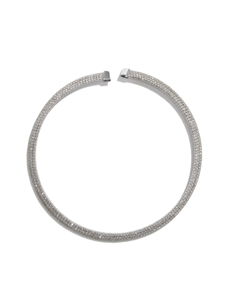Silver-Tone Mesh Collar Necklace
