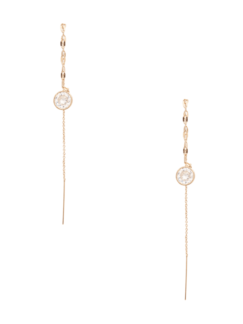 CZ Stone Linear Threader Earrings
