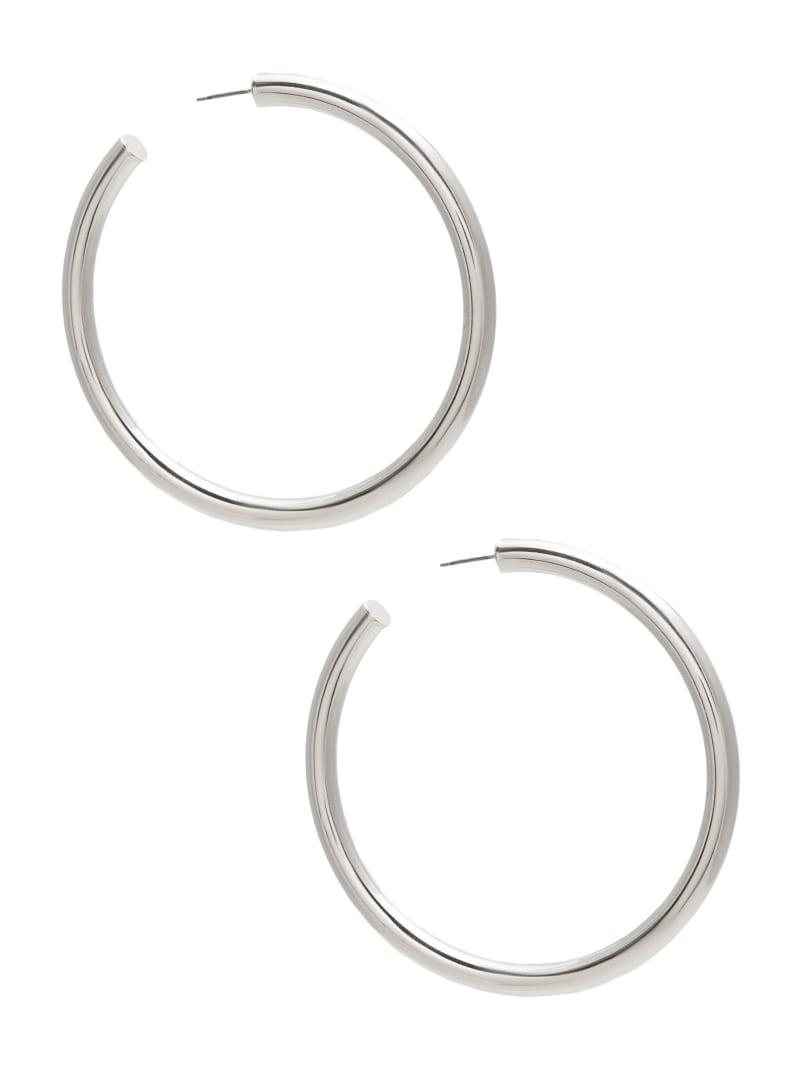 Tubular Silver-Tone Medium Hoop Earrings