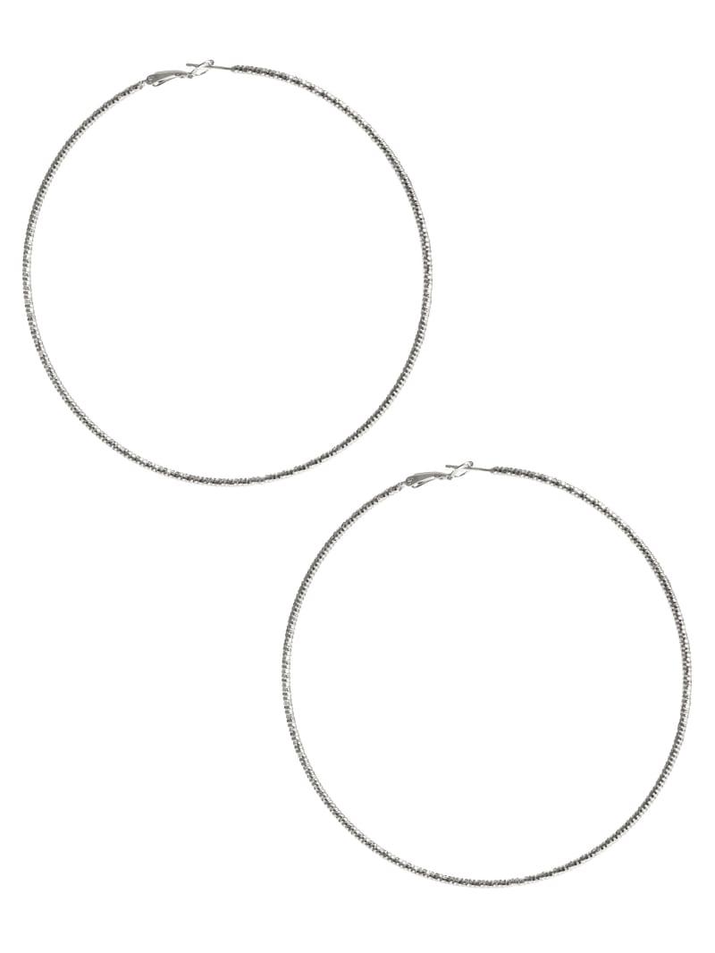 Large Silver-Tone Textured Hoop Earrings