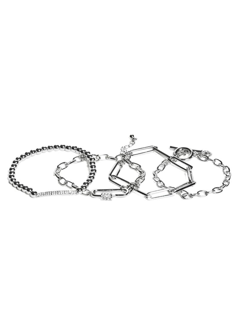 Silver-Tone Layered Bracelet Set