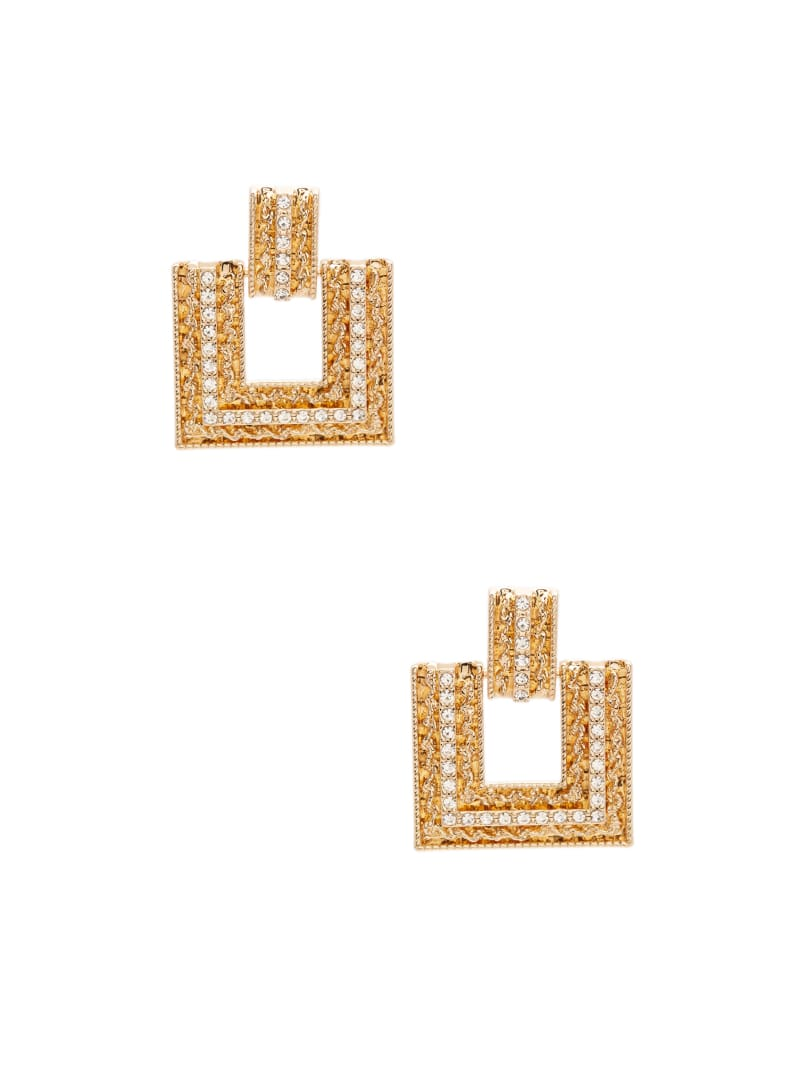Gold-Tone Rhinestone Statement Earrings