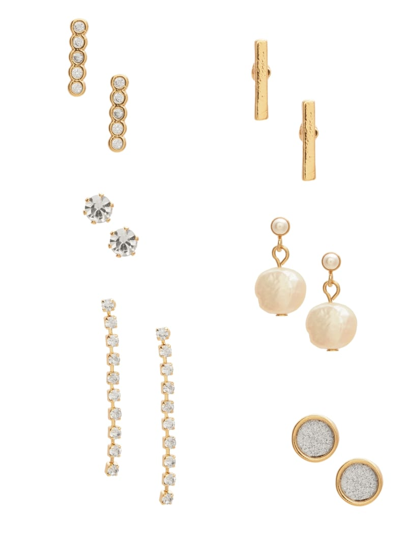 Gold-Tone Pearl And Rhinestone Earrings Set