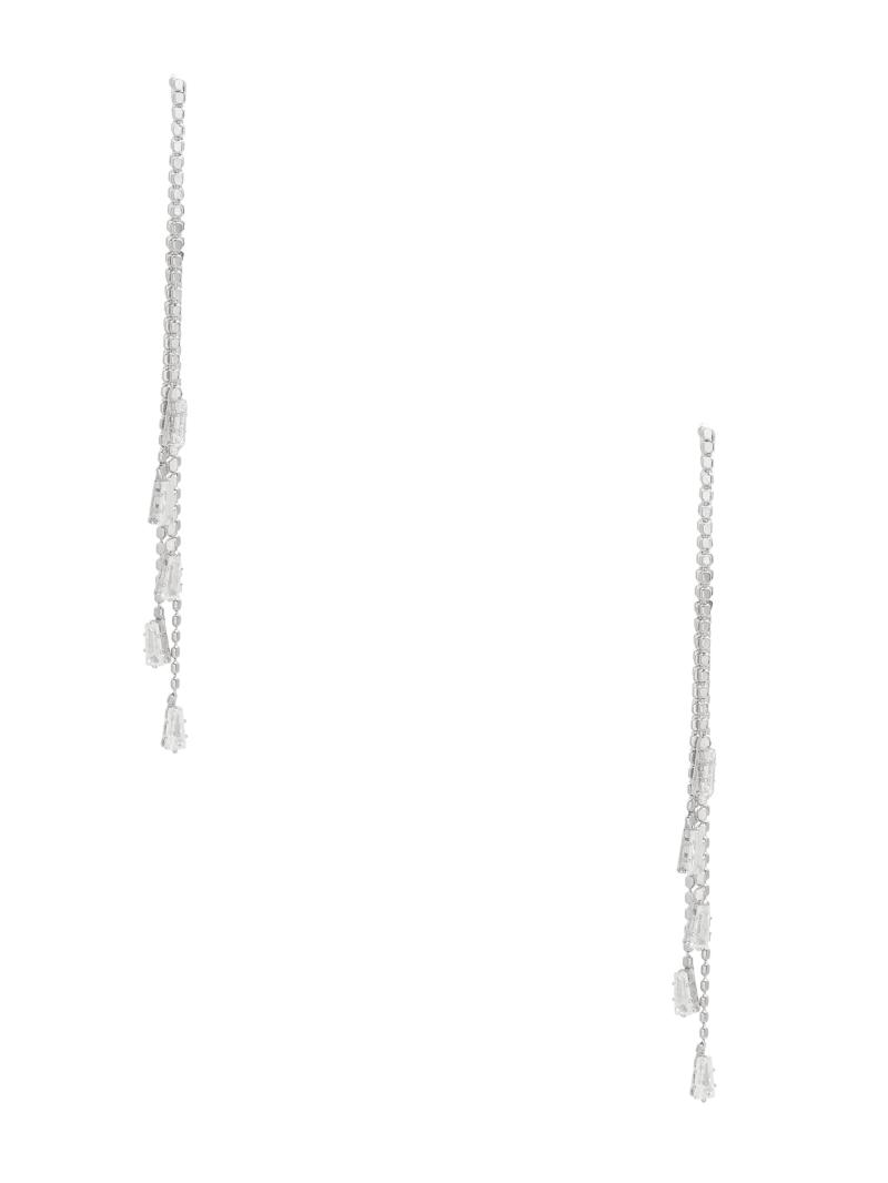 Silver-Tone Crystal Linear Earrings