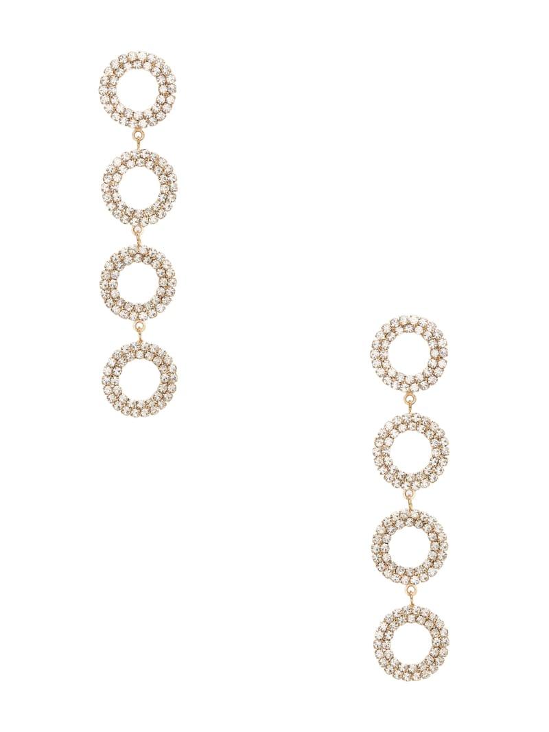Rhinestone Circle Linear Earrings