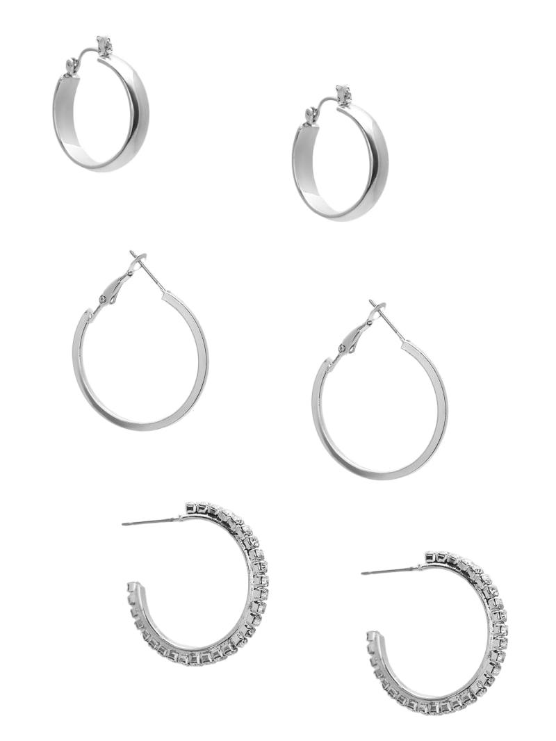 Silver-Tone Hoop Earrings Set