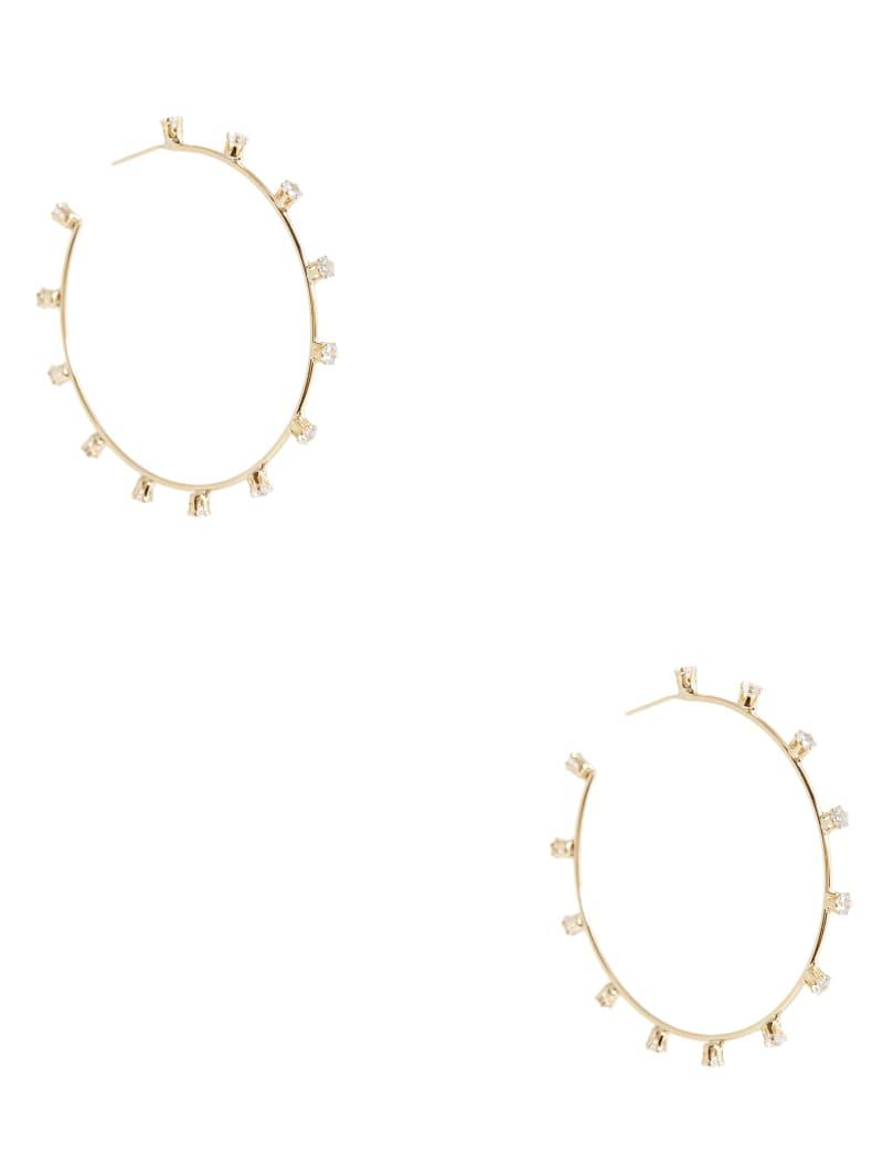 Gold-Tone Rhinestone Hoop Earrings