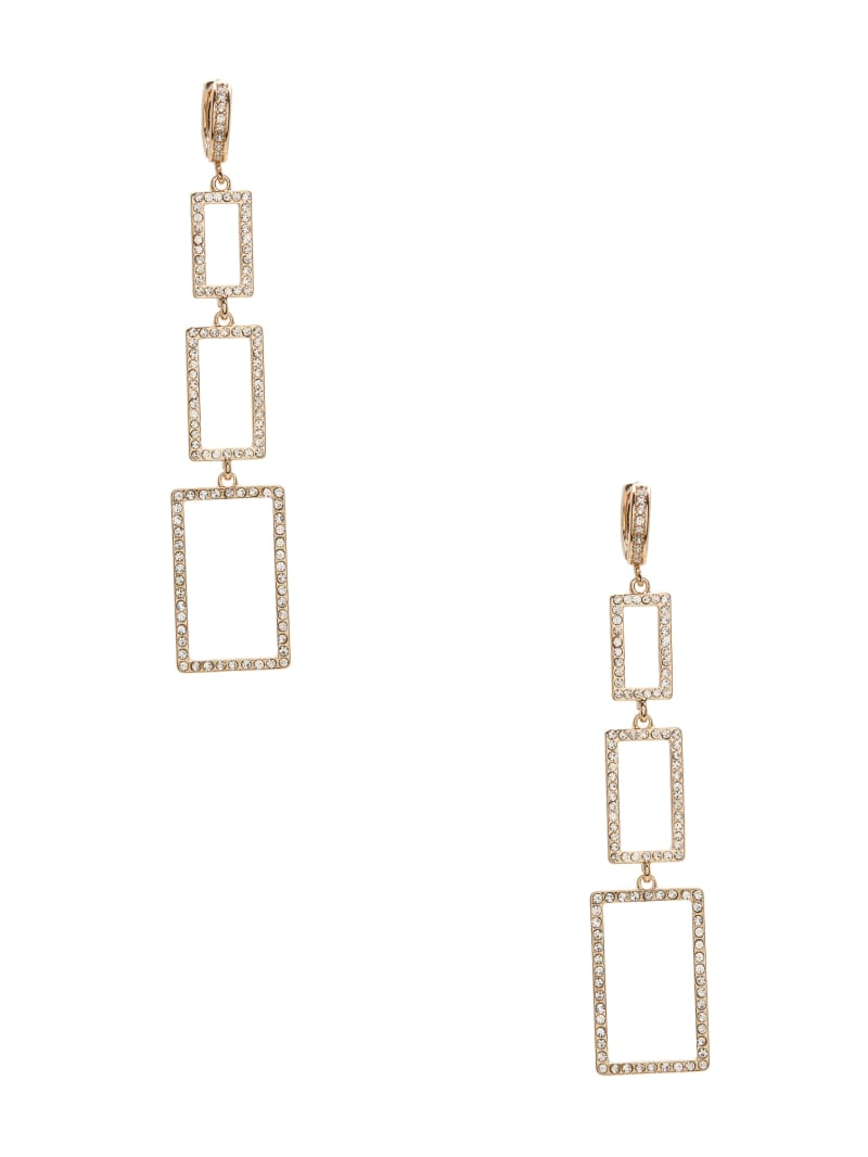 Linear Rhinestone Frame Earrings