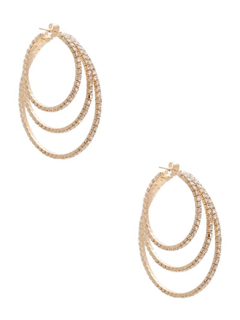 Layered Rhinestone Hoop Earrings