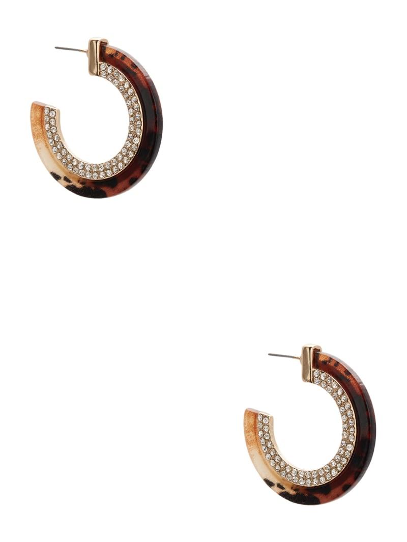 Tortoise and Rhinestone Hoop Earrings