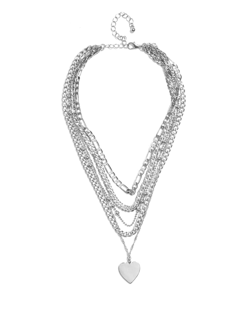 Silver-Tone Layered Heart Charm Necklace
