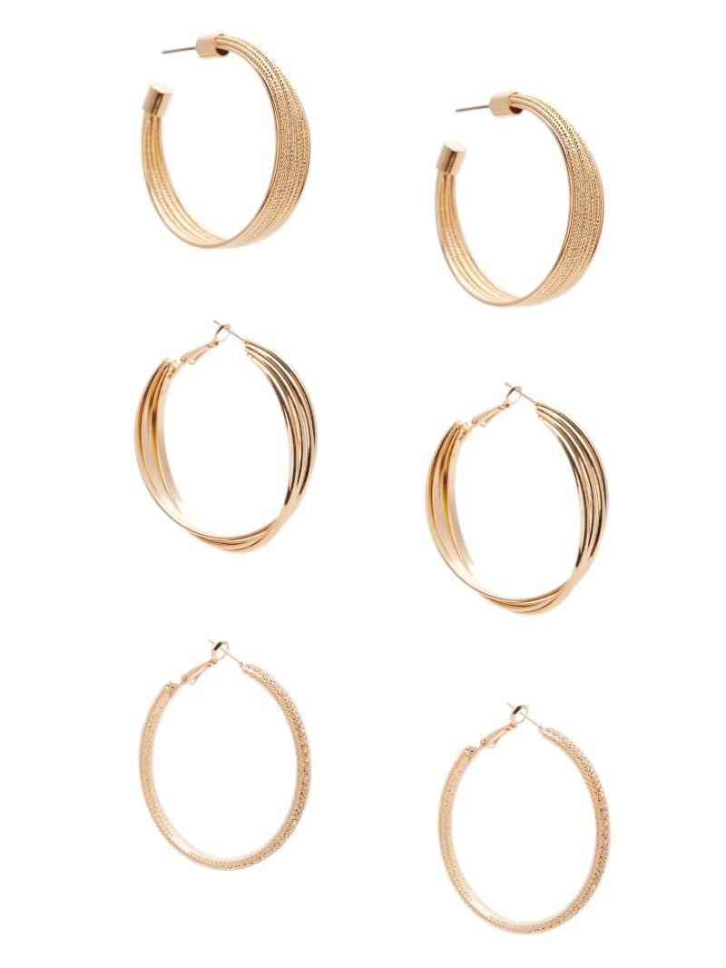 Gold-Tone Textured Hoop Earrings Set