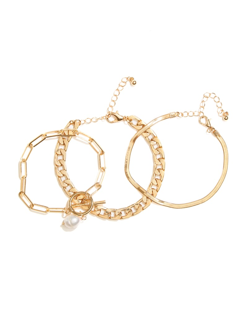 Gold-Tone Pearl Bracelet Set