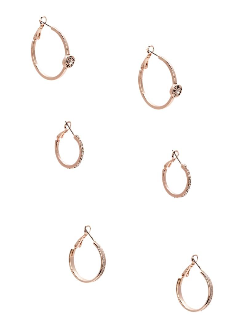 Rose Gold-Tone Logo Hoop Earrings Set