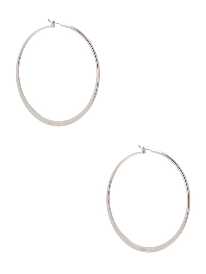 Silver-Tone Large Logo Hoop Earrings