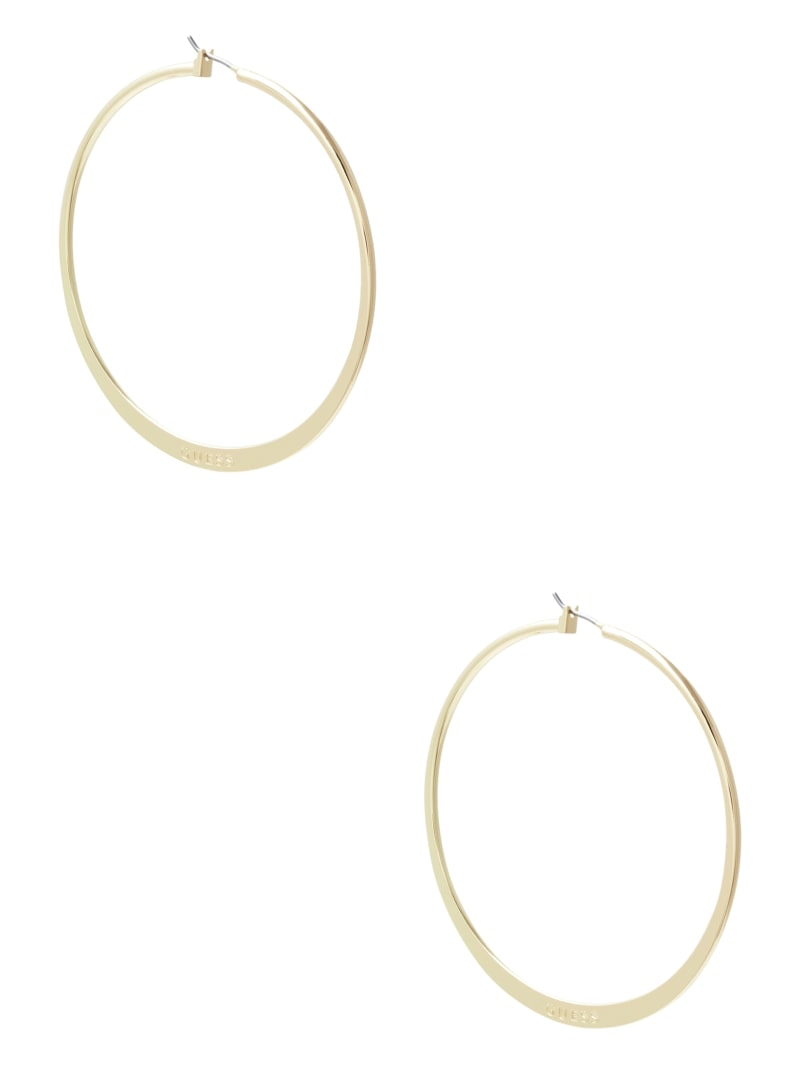 Gold-Tone Large Logo Hoop Earrings