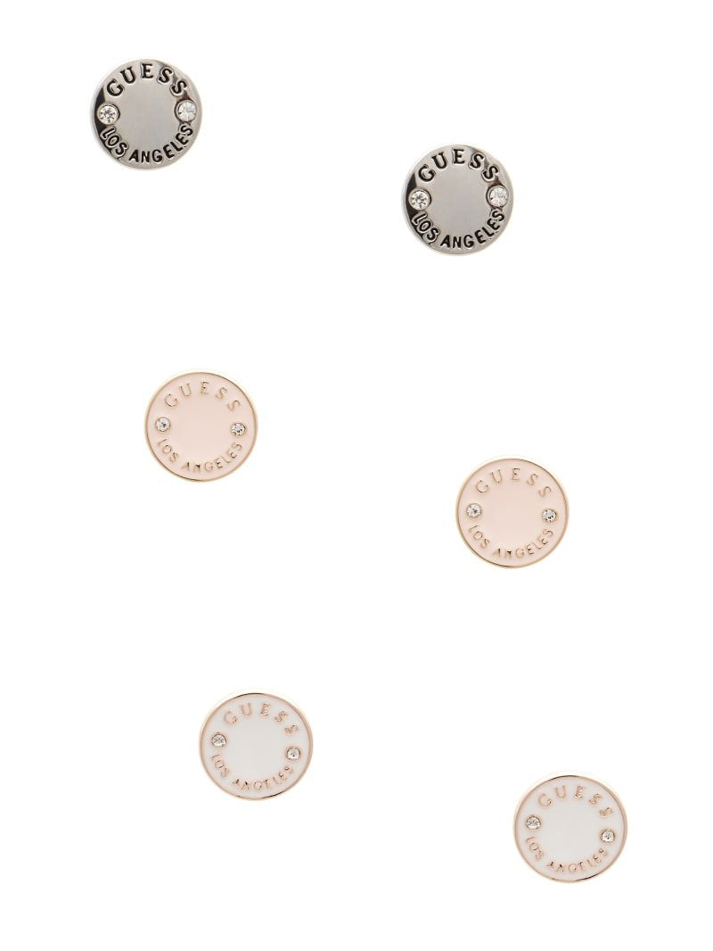 Enamel Logo Button Stud Earrings Set