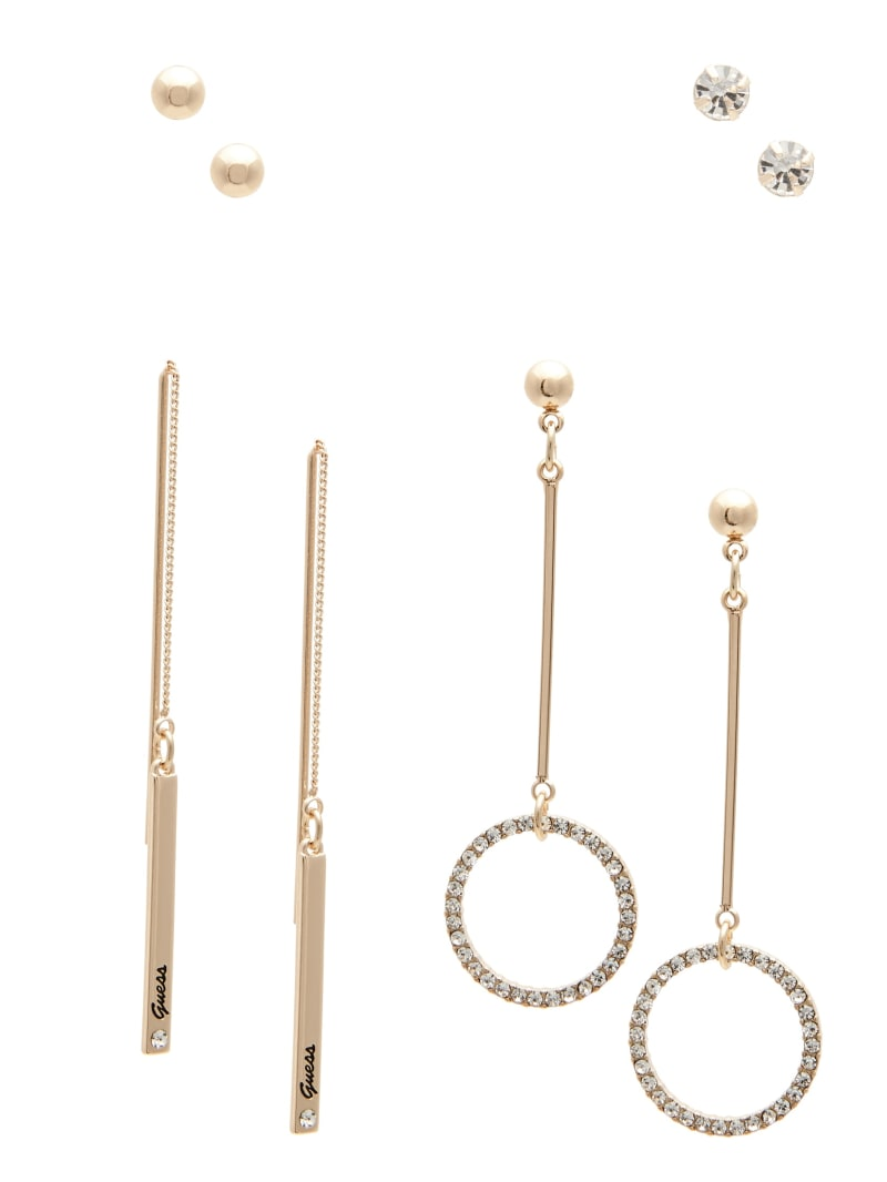 Gold-Tone Pave Linear Earrings Set