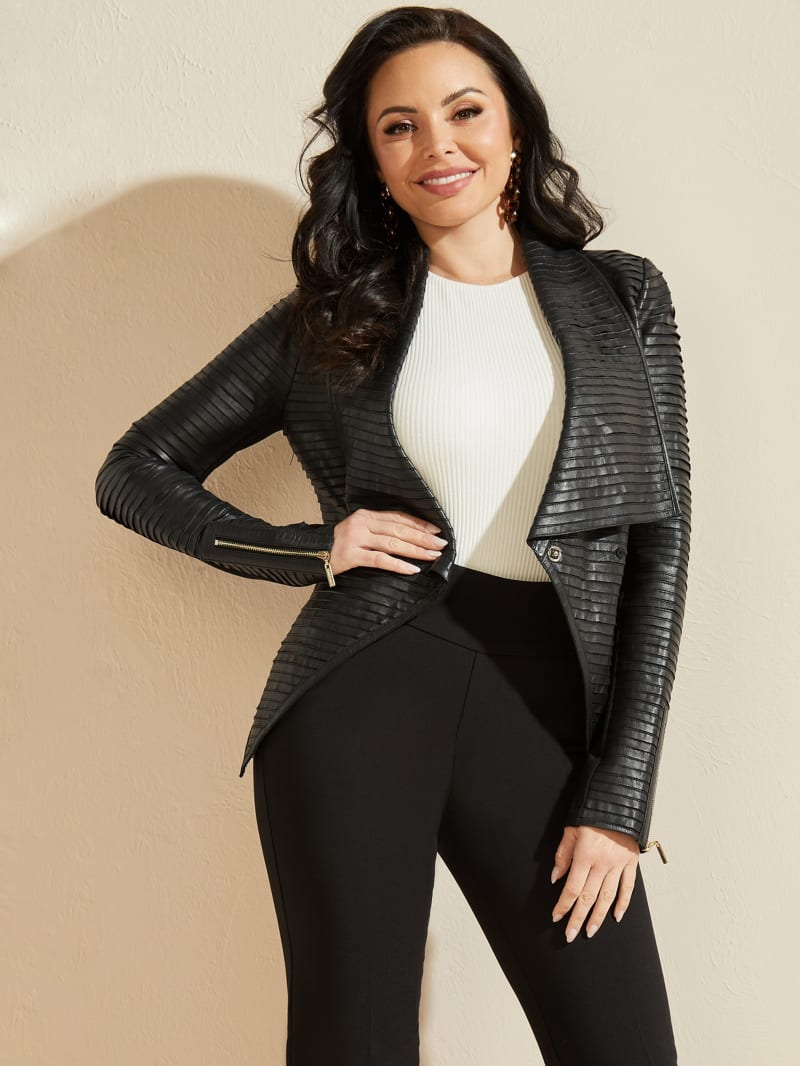 Shayna Drape Leather Jacket