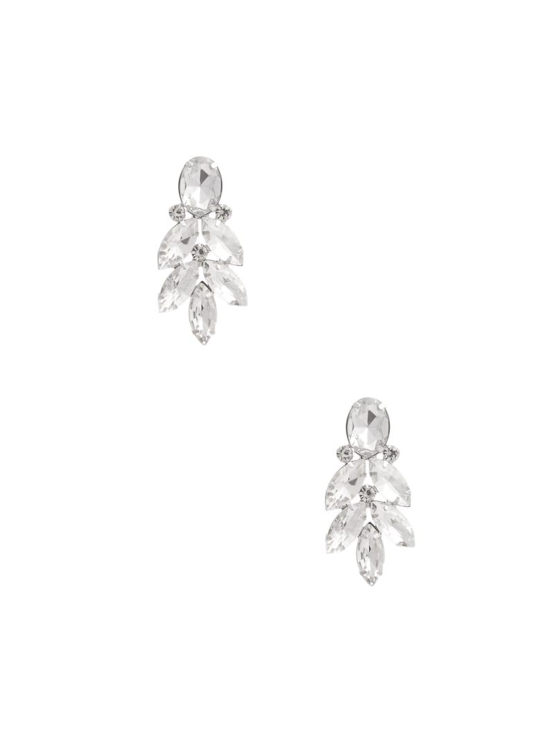 Silver-Tone Crystal Leaf Earring