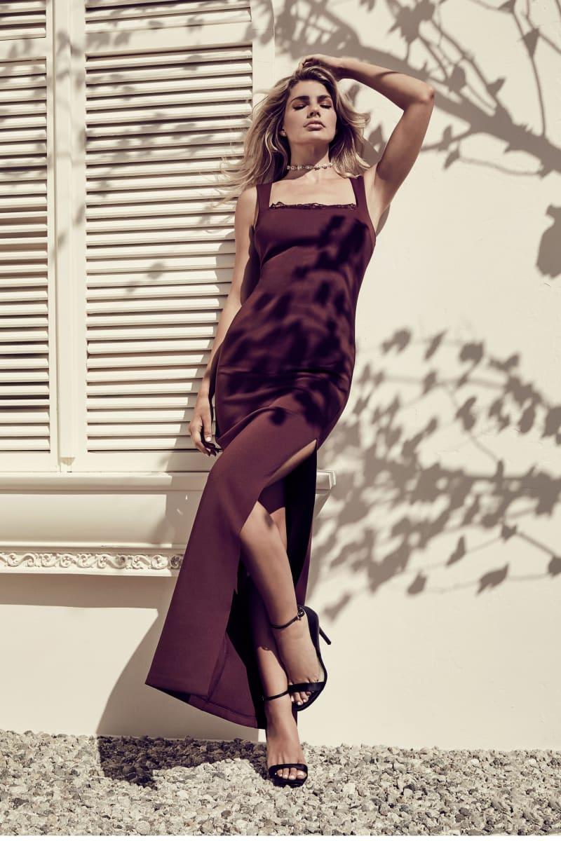 Rosy Scuba Maxi Dress