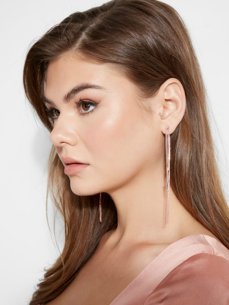 Rose Gold-Tone Rhinestone Linear Earrings