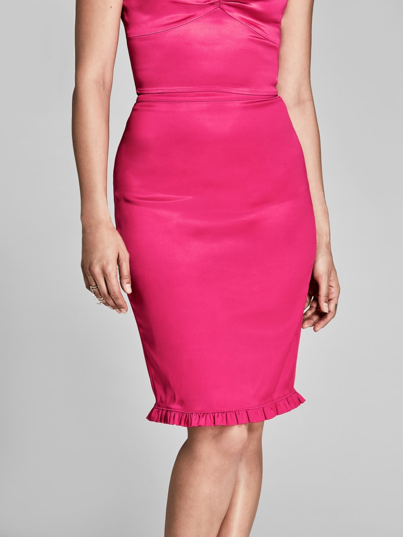 Lorena Satin Pencil Skirt