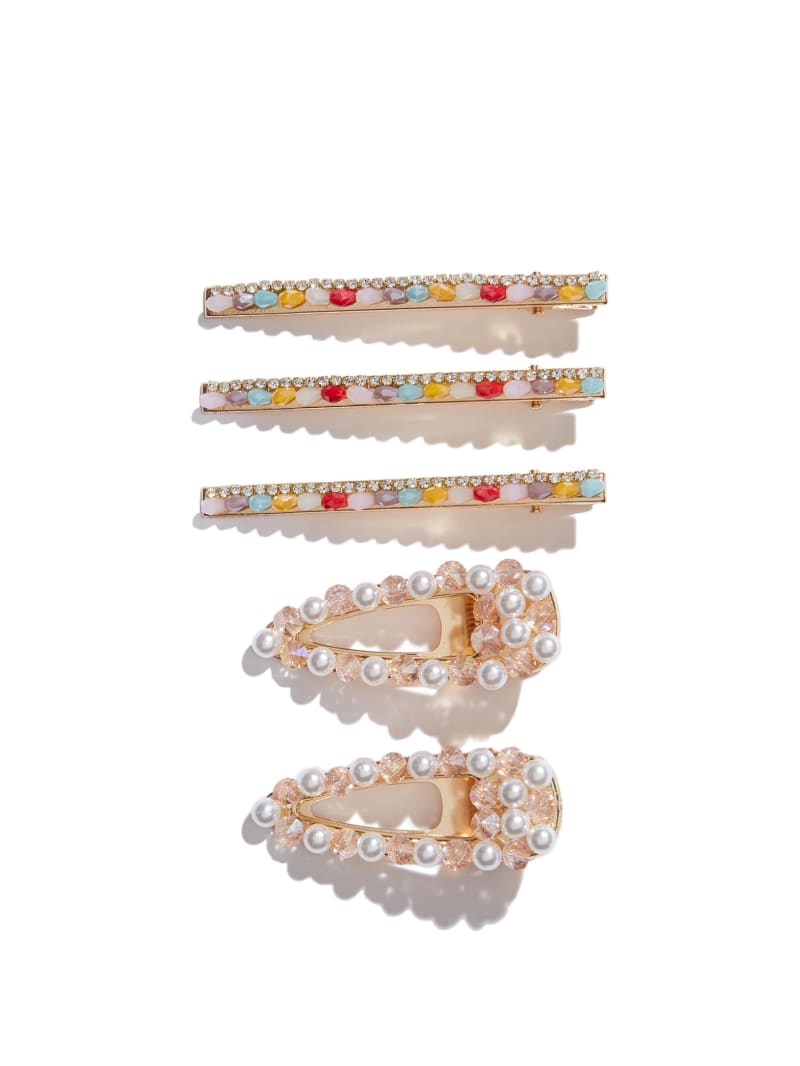 Pearl and Crystal Barrette Set