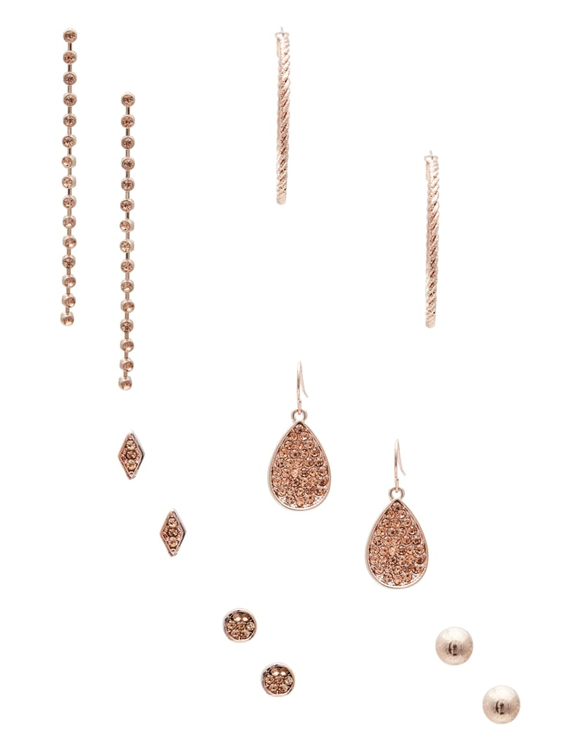 Rose-Gold Tone Champagne Stone Earrings Set