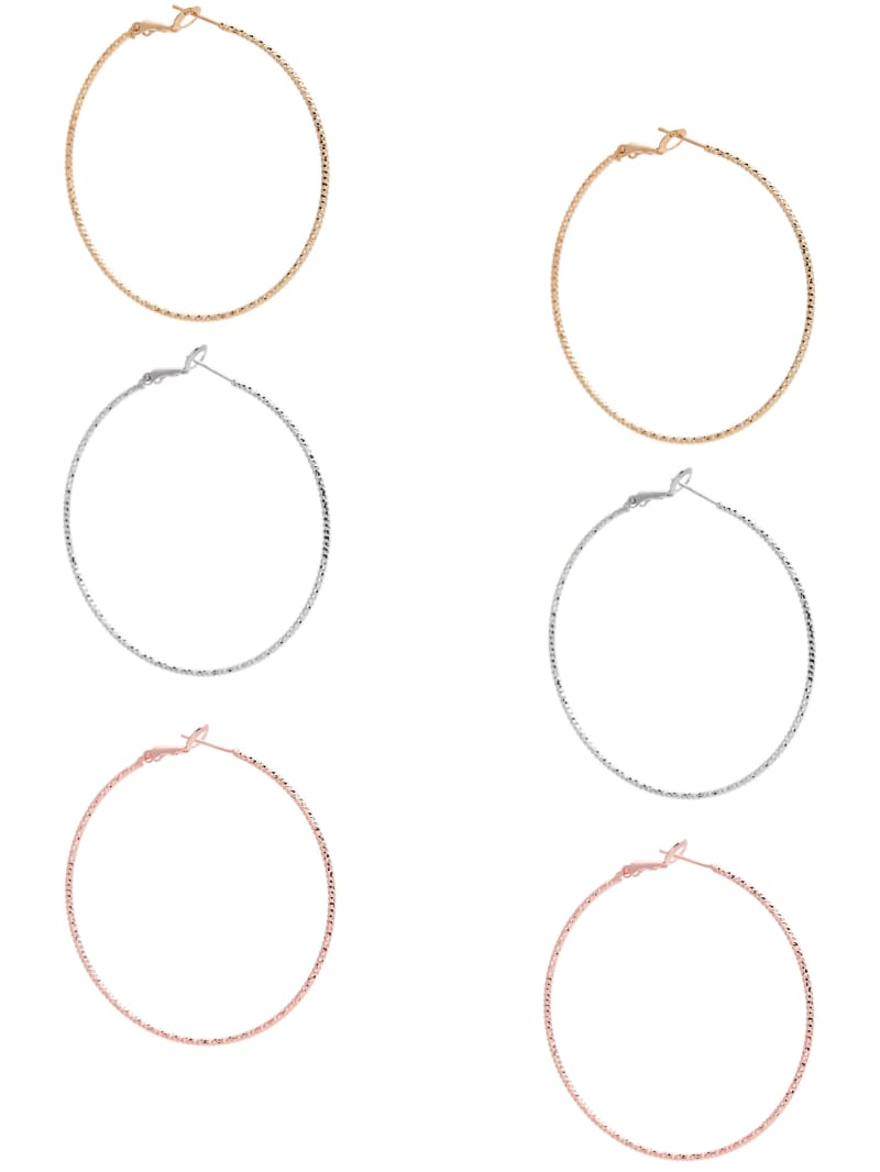 Multi-Tone Textured Hoop Earrings Set