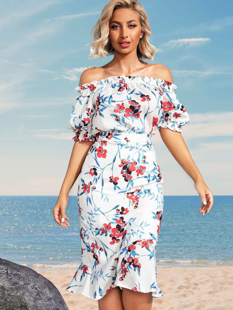 Bon Voyage Off-Shoulder Dress