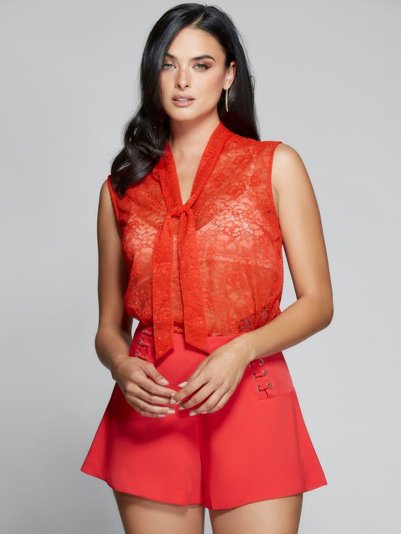 Gard Sleeveless Lace Tie Top