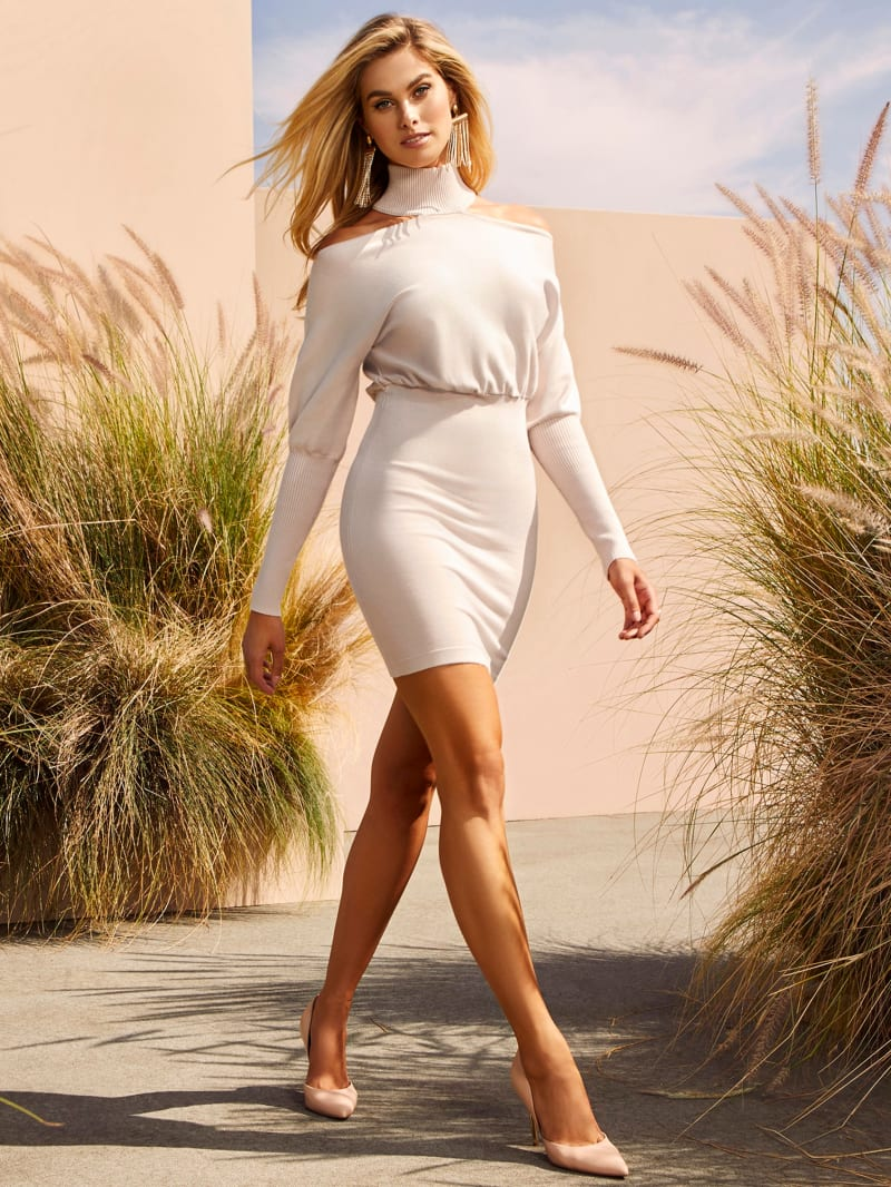 Promise Puff Sleeve Cut-Out Shoulder Sweater Dress