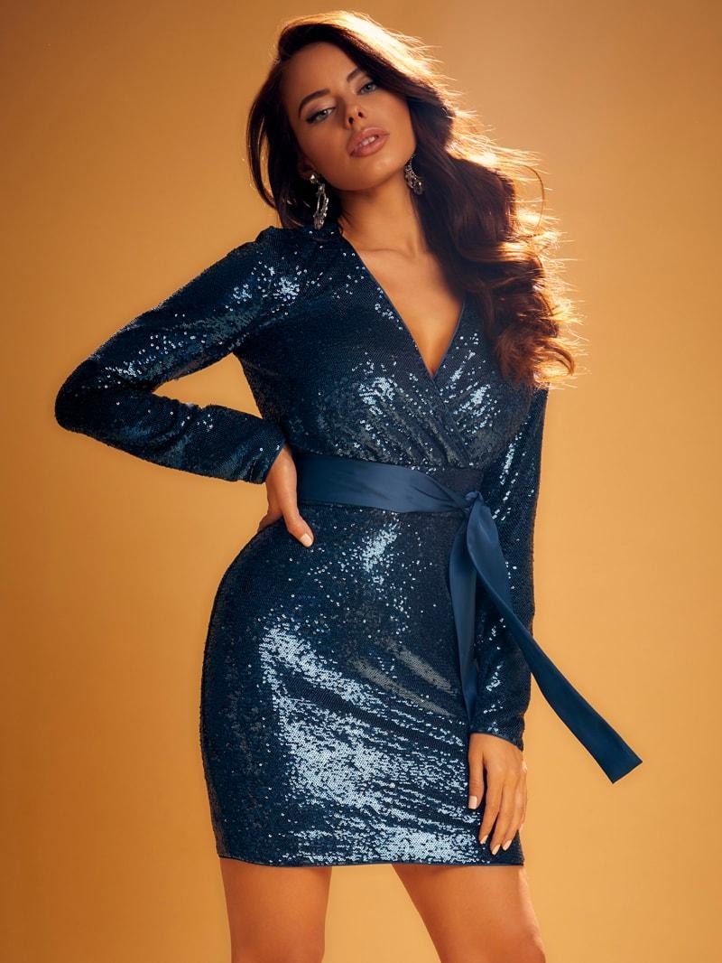 Alexi Sequin Wrap Dress