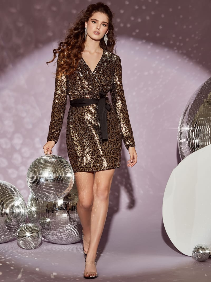 Alexi Sequin Wrap Dress