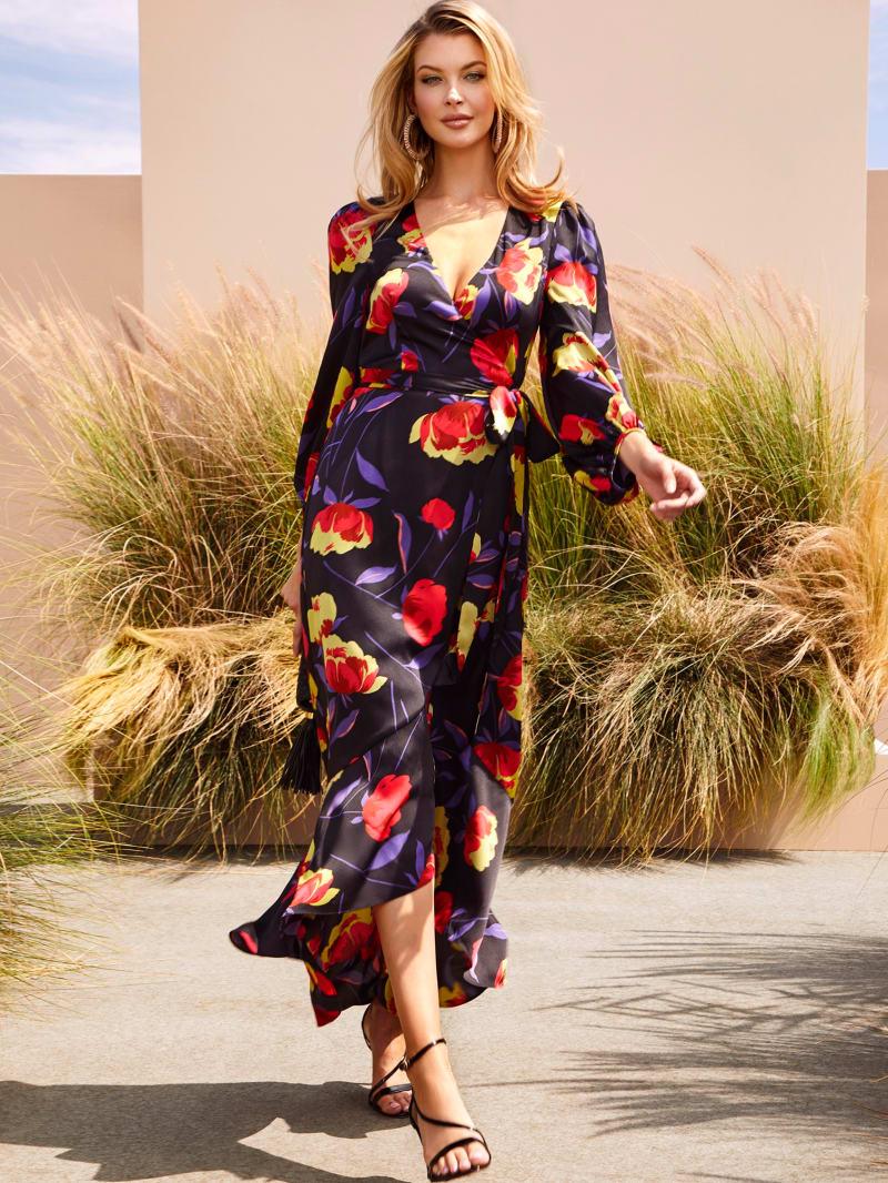 Dynasty Print Wrap Dress