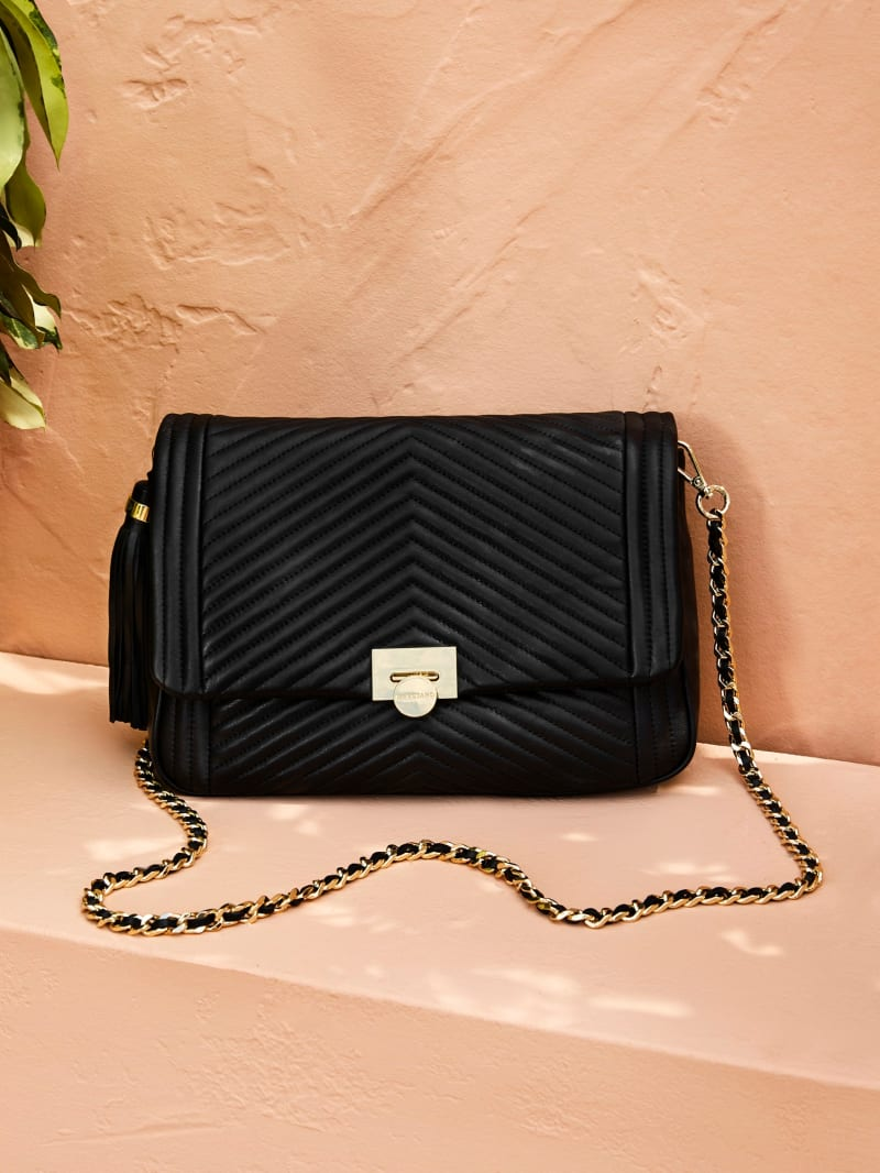 Chevron Quilted Leather Tassel Crossbody