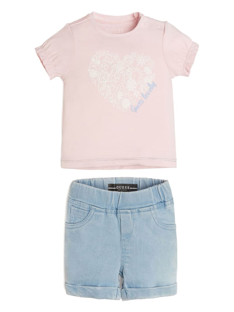 Heart Tee And Stretch Denim Shorts Set (0-24M)