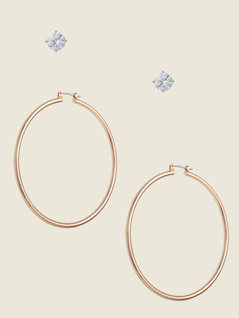 Gold-Tone Stud & Hoop Earrings Set