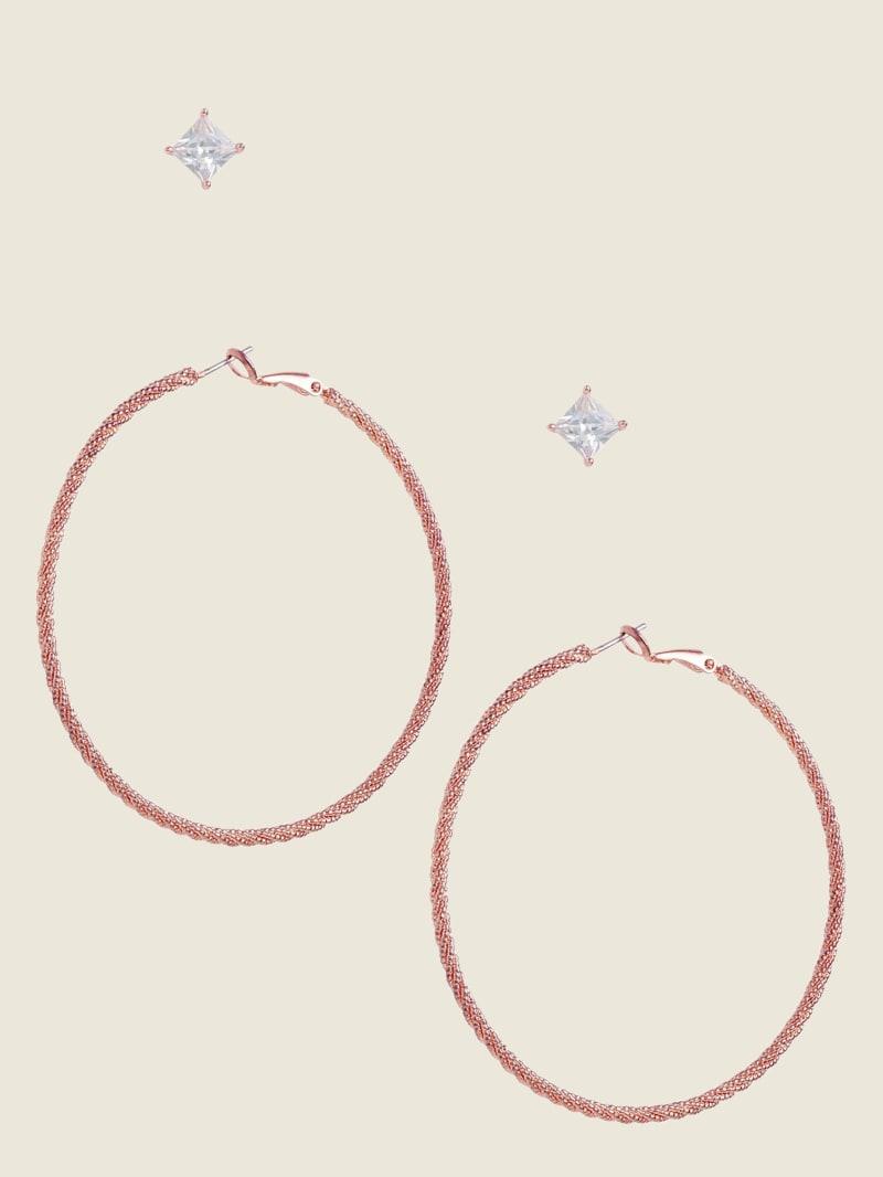Rose Gold-Tone Stud & Hoop Earrings Set
